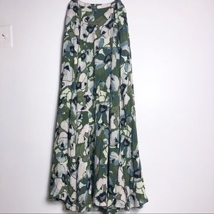 Free People green floral maxi skirt size 4